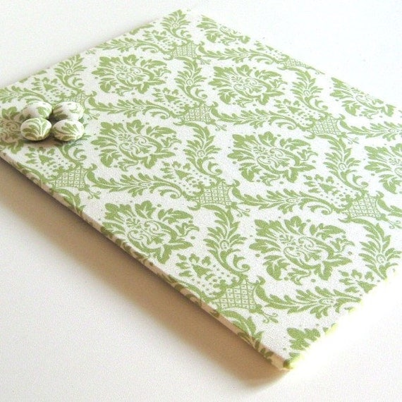 Magnet Board covered in Green and Cream Damask Fabric 8.5 inch  x 11 inch