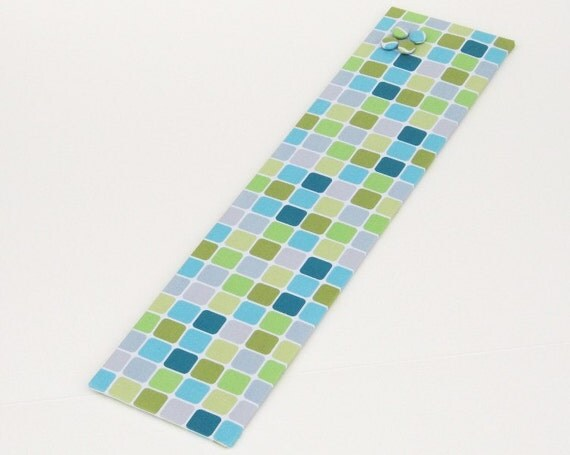 Long Skinny Magnet Board 6inx24in No Frame - Green, Blue and Gray Tiles fabric