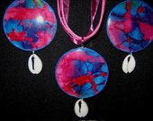 Batik  Pendant and Earring Set with Cowrie Shells