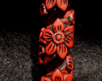 Dread Bead Red Flower Coil  You Choose Hole Size