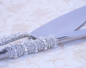 Unique Cake Server Set In Swarovski Crystals, Fresh Water Pearls And Czech Glass Beads