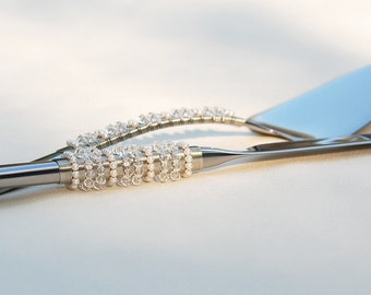 CUSTOM SWAROVSKI Wedding Cake Server And Knife Serving Set Beaded Crystal And Pearls UNIQUE Wedding Table Settings On Etsy