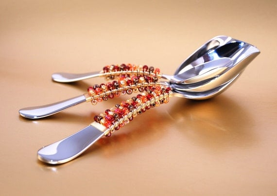 Quality Stainless Candy Buffet Scoops, Beaded, Wire Wrapped Fall Bridal Showers - Dessert Table Setting CUSTOM COLORS