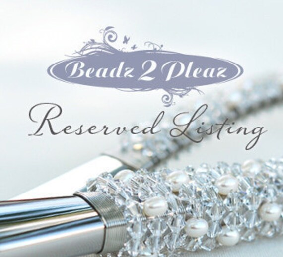 RESERVED CUSTOM LISTING - Vintage Looking Wedding Cake Server And Knife Set In One Beaded In 24 Carat White Gold Plated And Metal Beads