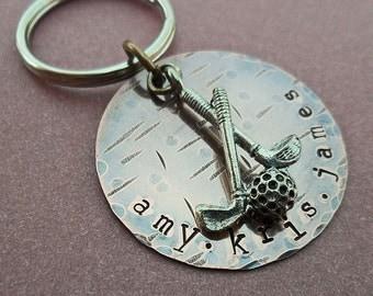 Hand Stamped Golf Keychain- Custom Man Dad Father Gift - Sport Keychain - K14