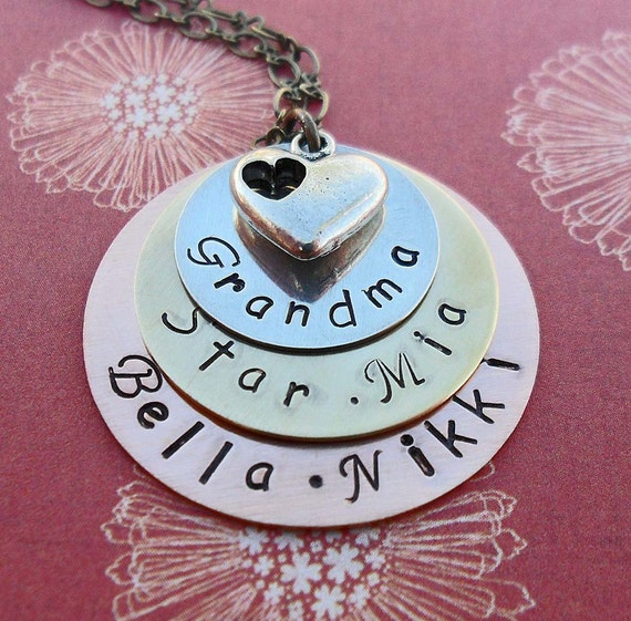 Stacked Grandma Necklace with Heart -Personalized Names -Hand Stamped Necklace- Grandma Triple Stack-  S 62