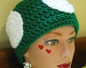 Super Mario Mushroom/Toad Hat with Mushroom Earrings, You choose any color with white spots