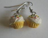 Cupcake Earrings, Yellow With Vanilla Frosting, Nickel Free