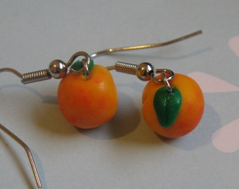 SALE Fruit and Veggie Collection, Mini Peach Earrings, Fruit, Nickel Free