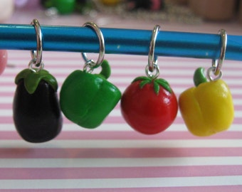 Fruit and Veggies Collection- 4 Piece Stitch marker, Charms Set, Eggplant, Yellow Bell Pepper, Tomato and Green Bell Pepper
