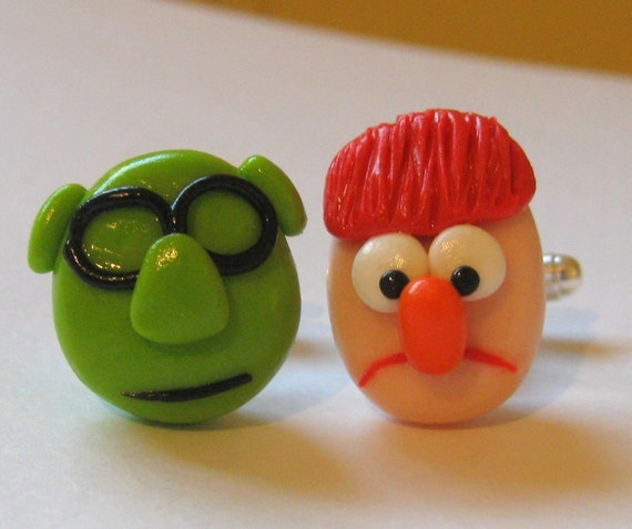 Beaker and Bunsen Cufflinks, Muppets, Wedding or Groomsmen