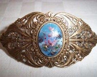 Brass Ox Ornate Vintage Floral Cameo Barrette