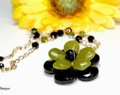 Green Jade and Black Onyx Flower Pendant Necklace by Kala Pohl