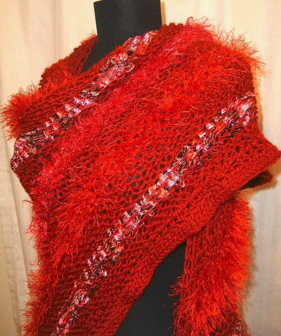Passion's Flame Hand knit Diva Shawl