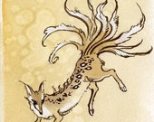 Original Watercolor Painting - Nine Tailed Fox - Kitsune - Magical Creature - Stephanie Pui-Mun Law - Shadowscapes