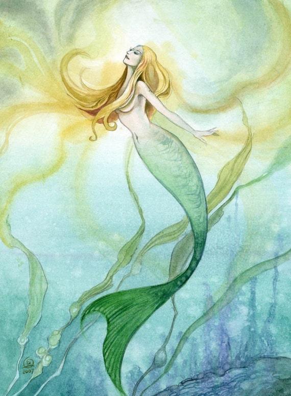 Original Watercolor Painting Mermaid Stephanie Pui-Mun