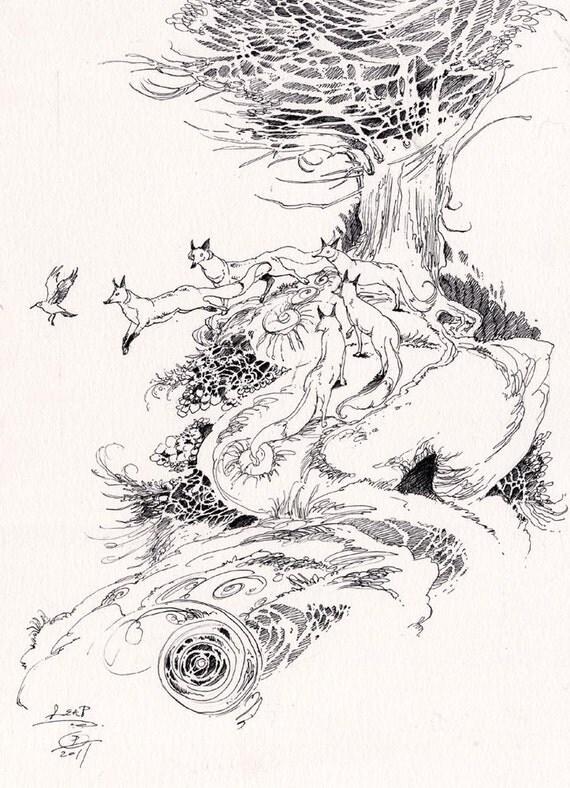 Leap - Foxes Oak Tree Magic Fantasy - Original Ink Drawing - by Stephanie Pui-Mun Law