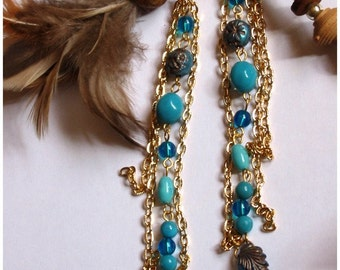 Long Dangling Earrings with Gold-plated Chain