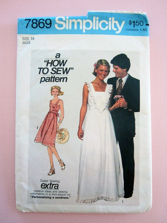 Vintage 1977 Simplicity 7869 Misses Pullover Sundress in Two Lengths Size 14