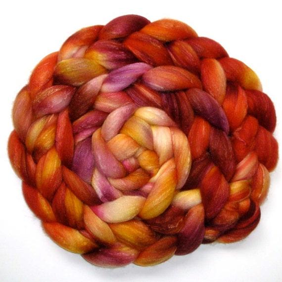 SW Merino, Merino and Silk Combed Top - Roasted Peach, 5.3 oz.