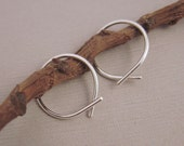 Small Silver Ribbon Hoops - Thread on catchless hoop earrings