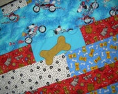Barks Bones and Bikes Puppy Pad (quilted blanket)