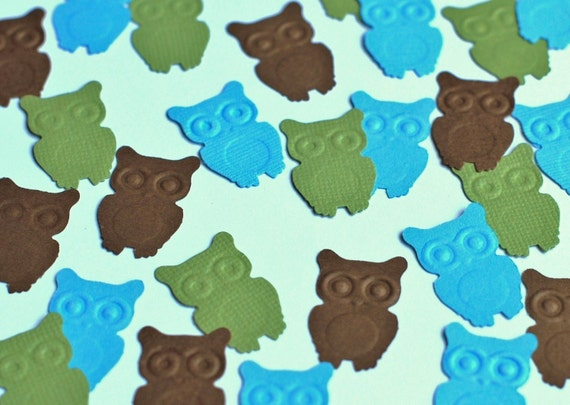 200 Embossed Owls - Cardstock Punches - 1 Inch Each - See Listing for 50 Other Punch Options - Many Colors and Punches Available