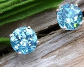 Swiss Blue Topaz Earrings in Gold, Silver, Platinum, or Palladium with Genuine Gems, 6mm - Free Gift Wrapping