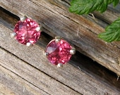 Pink Garnet Rhodolite Earrings in Gold, Silver, Platinum, or Palladium with Genuine Gems, 3mm - Free Gift Wrapping