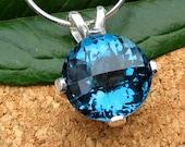 London Blue Topaz Pendant in Sterling Silver, Genuine Gemstone, Round 14mm