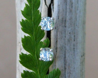 Aquamarine Earrings in Gold, Silver, Platinum, or Palladium with Genuine Gems, 3mm - Free Gift Wrapping
