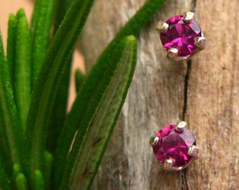 Ruby Earrings in Gold, Silver, Platinum, or Palladium with Genuine Gems, 3mm - Free Gift Wrapping