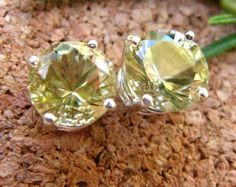 Lemon Quartz Stud Earrings in Gold, Silver, Platinum, or Palladium with Genuine Gems, 8mm - Free Gift Wrapping