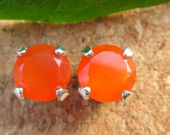 Carnelian Studs - Genuine Orange Carnelian Stud Earrings in Real 14k Gold, Sterling Silver, or Platinum - 5mm, 6mm