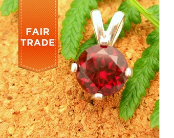 FAIR TRADE Rhodolite Garnet Pendant in Sterling Silver, 8mm Round Gemstone - Free Gift Wrapping