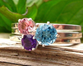 Contemporary Luxury Stacking Ring Set - Top Quality Pink Tourmaline, Amethyst, and Swiss Blue Topaz in Sterling Silver - Free Gift Wrapping