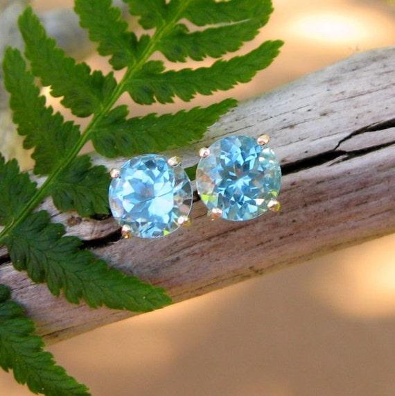 8mm Swiss Blue Topaz Studs in Sterling Silver -  BIG Faceted Gemstone Stud Earrings