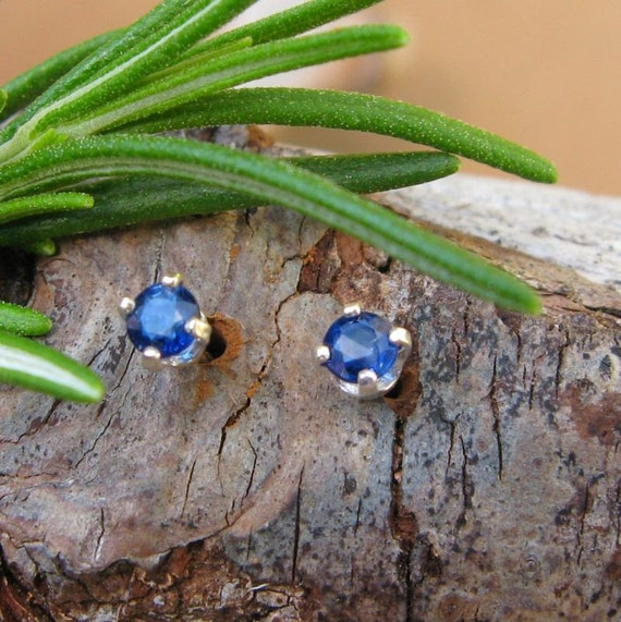 Blue Sapphire Stud Earrings, Sterling Silver with Genuine Gemstones, 3mm