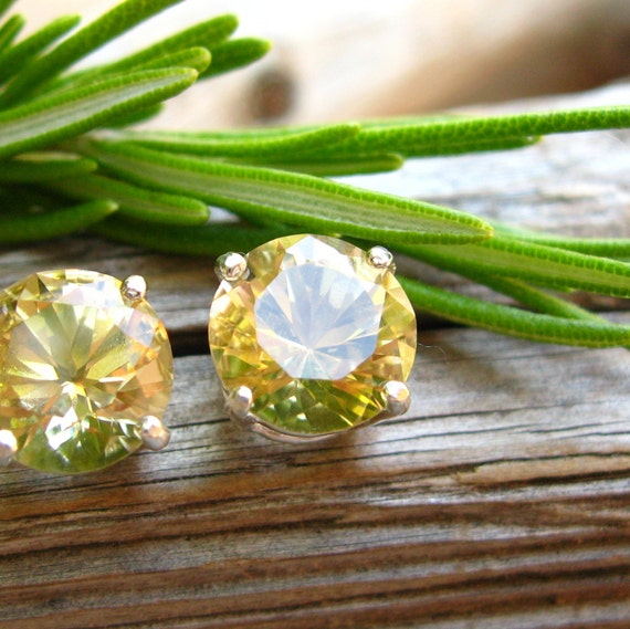 Citrine Stud Earrings in Gold, Silver, Platinum, or Palladium with Genuine Gems, 8mm - Free Gift Wrapping