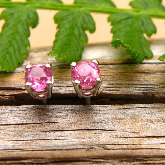 FAIR TRADE Pink Montana Sapphire Stud Earrings in 14k White Gold with Genuine Gemstones, 3mm
