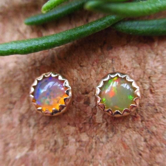 Opal Stud Earrings, 14k Gold and Genuine Gemstones, 4mm