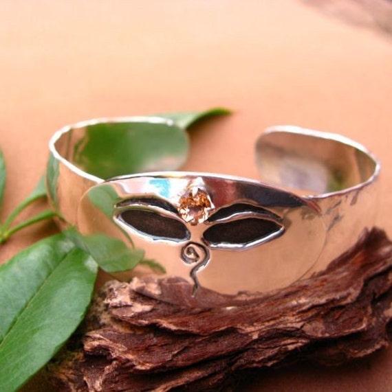 Golden Topaz Buddha Eye Cuff Bracelet in Sterling Silver