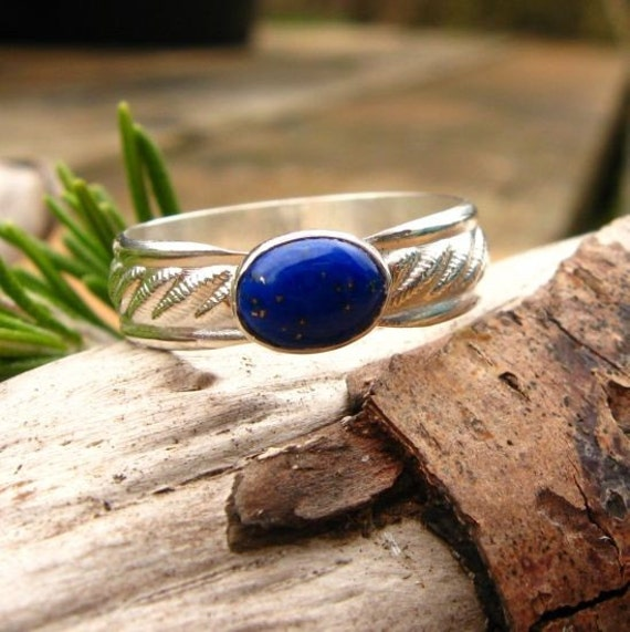 Lapis Lazuli and Sterling Silver Ring with Patterned Band