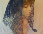 The Theresa -- Blue Mantilla Lace Headcovering, approximately 47  x 17 inches
