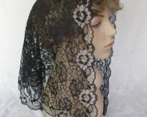 Black Floral Lace Mantilla Triangle Chapel Veil with Silver Edging -- The Victoria Style in 3 Sizes, PREMIUM Chapel Veil
