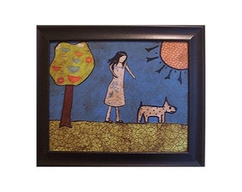 A Walk in the Park ORiGiNAL MiXED MEDiA  collage (framed) 8 x 10 FREE USA SHIPPING