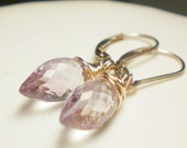 Understated elegance - Pink amethyst gemstone gold filled wire wrap on leverback earwires