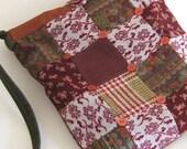 Patchwork Purse, Vintage Fabrics, Shoulder Bag, Burgundy, Rust & Olive, Boho