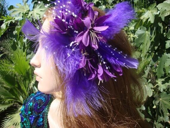 Halloween Purple Silk Flowered Fascinator