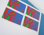 SENDING YOU MY LOVE blind deboss postcard with Vintage Stamps